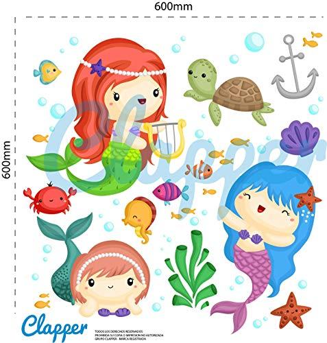 Clapper Vinilo Adhesivo Infantil Sirenas. Animales del mar. Pegatinas Decorativas Pared, habitacion. Tortuga, Estrella, Peces.