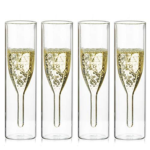 Sziqiqi Verres à Flûte à Champagne en Cristal à Double Paroi, Classics Tulip Goblet, Tasses en Verre Transparent, Verres Soufflés à la Bouche pour la Restauration, Mariages, Fêtes, Bars (4)