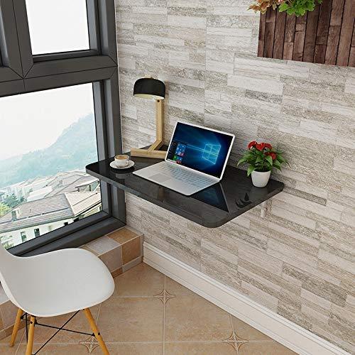 LMZJLU Klapptisch Wand-Klapptisch Folding Wand-Tisch Holz Faltbarer Schreibtisch Wand-Tisch Esstisch Computertisch Schreibtisch (Farbe : Schwarz, größe : 60 * 50cm)