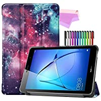 Billionn Huawei MatePad T8(kobe2-L03 / KOB2-L09)タブレット用フォリオ3つ折りスタンドスマートケース[超薄型] [超軽量]、銀河星雲