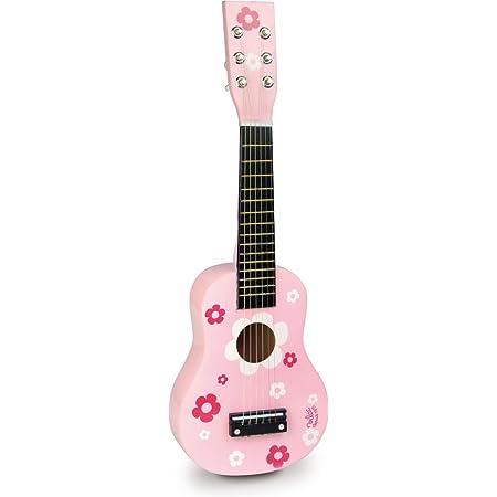 VILAC - Jouet en bois - Instruments de musique - Guitare fleurs en bois massif, 6 cordes - 8305