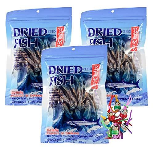 yoaxia ® - 3er Pack - [ 3x 100g ] Getrocknete Sardellen von BDMP Thailand Dried Anchovy Pla-ka-tak #9 + ein kleines Glückspüppchen - Holzpüppchen