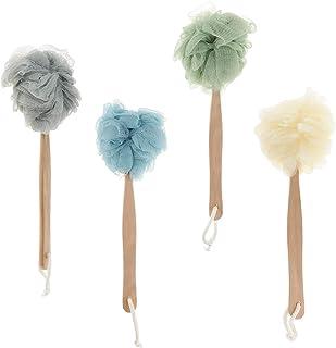 D DOLITY 4 Pcs Long handle Body Shower Bath Sponge Back Scrubber Puff Wash Brush Soft Mesh Net for Spa