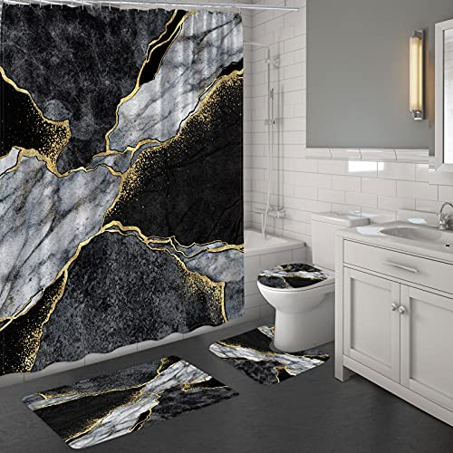 MitoVilla Black Marble Shower Curtain Set with Rugs, Abstract Grey Black and White Bathroom Sets with Shower Curtain and Rugs and Accessories, Black Grey Yellow Modern Bathroom Shower Curtain
