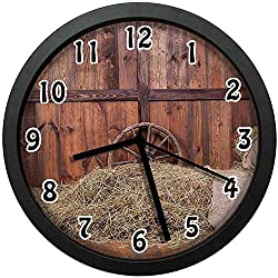 Barn Wood Wagon Wheel, Rural Old Horse Stable Barn Interior Hay and Wood Planks Image Print,Brown Dust Wall Clock Nice for Gift or Office Home Unique Decorative Clock Wall Decor 10in with Frame
