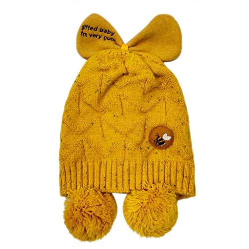 Cuteelf Baby Mütze Europa und Amerika Winter Strickmütze Schal Set Kinder Cartoon süße kleine Biene Bogen Hut Baby Mütze Winter Strickschal Anzug süße Mütze