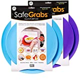 Safe Grabs 2 Color Bundle: Original Multi-Purpose Silicone Microwave Mat | As Seen on Shark Tank, GMA & The View (BPA Free, Heat Resistant, Dishwasher Safe),Blue & Purple