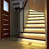 DDSTAR 3m Led luz de escalera inteligente debajo de la luz de la cama Control del detector del sensor Pir Lámpara de pared inteligente Armario Armario Luz de cocina