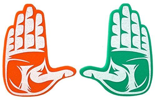 Root Sportswear University of Miami Hurricanes UM NCAA College The U Hand Sign Foam Hands/Foam Fingers