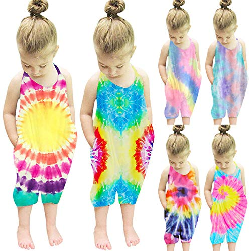 Noustyle Baby Girls Tie Dye Bodysuit Kids Cute Backless Harem Strap Romper Jumpsuit Pants Overalls (Type-A, 5-6 Years)
