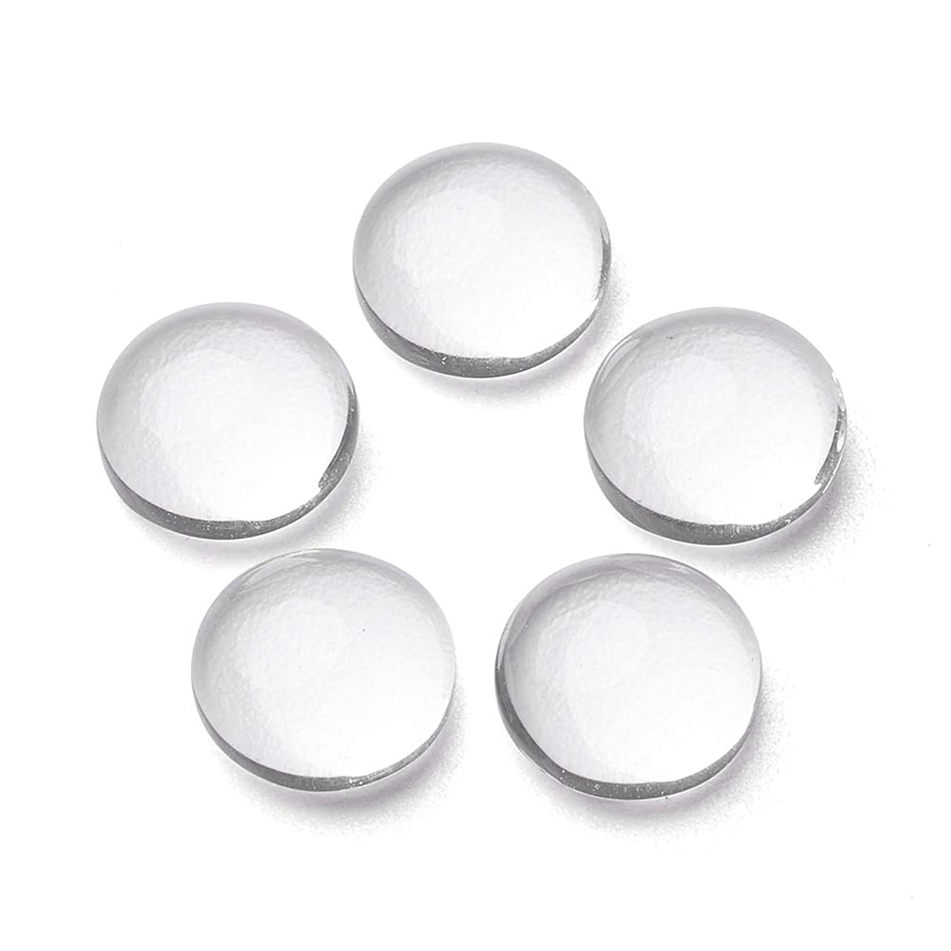 Craftdady 200Pcs Transparent Clear Glass Cabochons 8mm Flat Back Half Round Dome Tiles for Photo Pendant Jewelry Craft Making