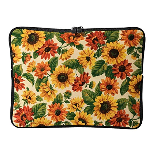 Sunflower Laptop Case Bag Slim High Capacity Zipper Multi-Functional Stationery 10-17 Inch Design for The Business Professional Travel Commuter White 12 Zoll