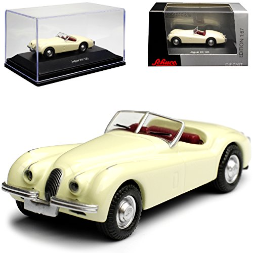 Schuco Jaguar XK 120 Cabrio Beige Weiss 1948-1954 H0 1/87 Modell Auto mit individiuellem Wunschkennzeichen