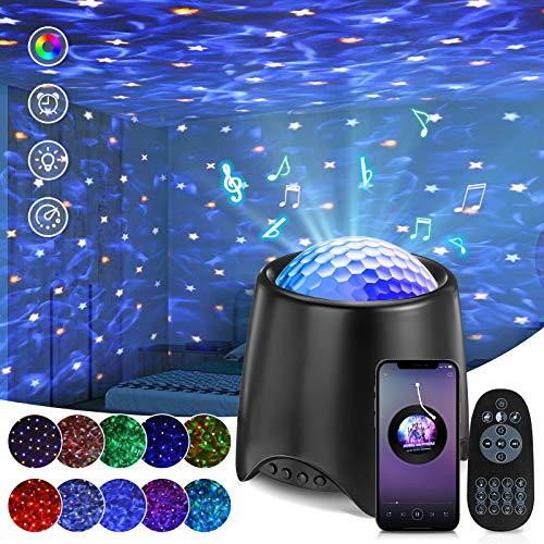 SOLMORE LED Sternenhimmel Projektor, Sterne Lampe Eingebautem Musikspieler Nachtlicht Sternenhimmel mit Fernbedienung, Weißes Rauschen, Sternenlicht und Wasserwellen für Kinder Zimmer Party