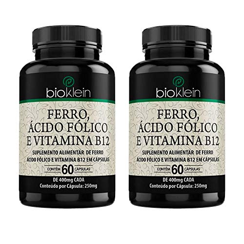 Ferro, Ácido Fólico e Vitamina B12-2 unidades de 60 Cápsulas - Bioklein