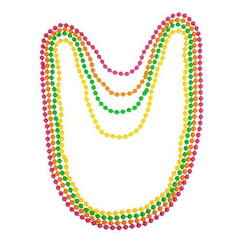 Neon Perlenketten- 12 Stück Set - grün, pink, gelb, orange - Neon Farben - Kette Schmuck - Halskette - Hippiekette - leuchten im Schwarzlicht - Kette für Damen - Fasching - Fluoreszierende Perlen
