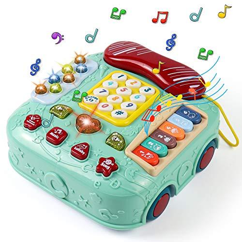 Akokie Juguetes Bebe Juegos de Mesa para Niños Juguetes Teléfono Juguetes Musicales Bebés Piano Infantil Instrumentos Musicales Infantiles Regalos para Niños Juguetes Niños 3 4 5 Años Educativos