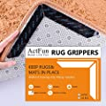 ActFun 16 pcs Rug Tape, Non Slip Reusable Washable Rug Grippers for Area Rugs, Floor Mats, Hardwood Floors, Tile Floors, Linoleum, Carpets, Black (not Applicable to Rubber or Silicone Carpet and Rugs)