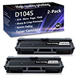 2 Pack (Black) D104S Toner Cartridge Replacement for Samsung ML1665 ML1660N SCX3218 SCX3217 SCX3210 SCX3206 SCX3201 SCX3200 ML1865W ML1864 ML1861ML1860 ML1675 ML1670 ML1666 ML1661 ML1655 Printers.