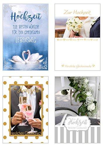 Edition Seidel Set exklusive Hochzeitskarten mit Umschlag. Glückwunschkarte Grusskarte zur Hochzeit. Hochzeitskarte Karte (Set 2, 4 Karten)
