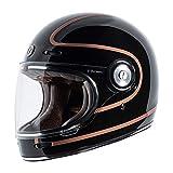 TORC T1 Unisex-Adult Retro Full-face-Helmet-Style Motorcycle (Copper Pin Gloss Black, Medium)
