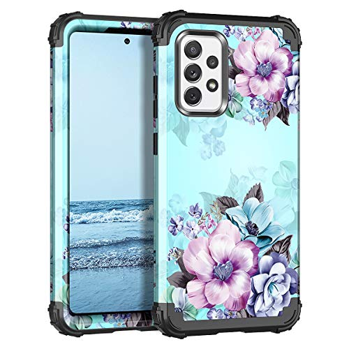 Casetego for Galaxy A52 5G Case,Floral Three Layer Heavy Duty Sturdy Shockproof Full Body Protective Cover Case for Samsung Galaxy A52 5G,Blue Flower