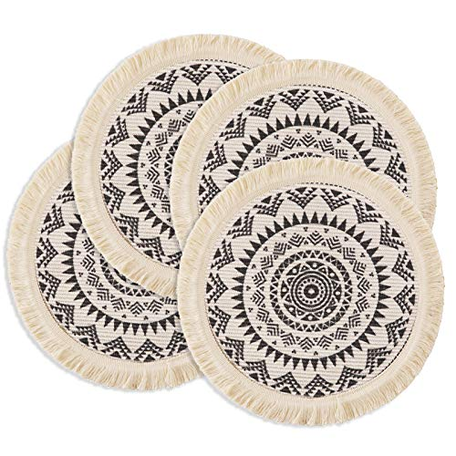 OJIA Round Placemats Set of 4,Boho Tassels Table Mats 13 Inch Black and Cream Cotton Woven Heat Proof Washable Circle Ktchen Placemats for Table Dinner Wedding Home Decoration