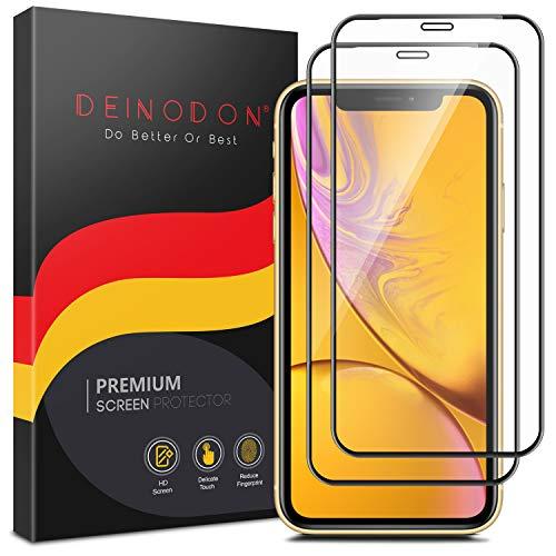 DEINODON 2X Full Screen Panzerglas für iPhone 11/iPhone XR Schutzfolie Vollbildabdekung Panzerfolie 9H+ Härte 2.5D Schutzglas Displayschutz mit Positionierungsrahmen