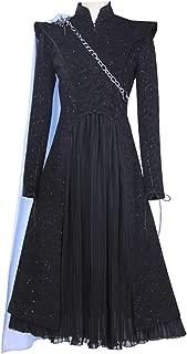 iCos Women's Black Shinning Long Sleeve Tuxedo Suits and Chiffon Dress Cosplay Halloween Costume Chain Cape