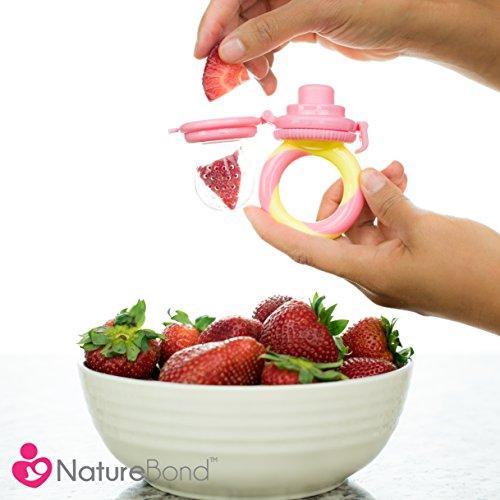 NatureBond Baby Fruit Feeder Babynahrung Nahrungsmittelzufuhr / Fruchtsauger Schnuller (2 Stück) – Baby Beißring in appetitanregenden Farben   Inklusive Bonus Silikon-Nippel (alle Größen) - 7