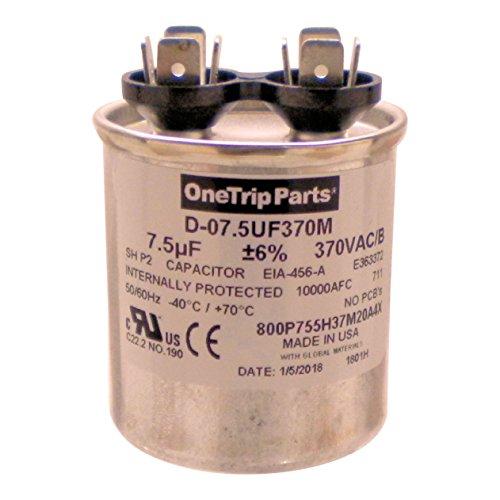 OneTrip Parts USA Run Capacitor 7.5 UF - 7.5 MFD 370 VAC Round