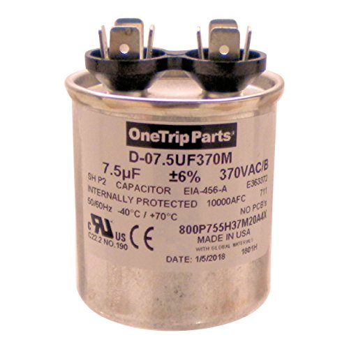 OneTrip Parts USA Run Capacitor 7.5 UF - 7.5 MFD 370 VAC Round