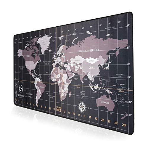 SCHNÜRRLIE Schreibtischunterlage Weltkarte Kompass auf deutsch - Schreibunterlage 90x40 cm Schwarz