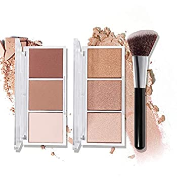 Highlighter & Contour Makeup Palette with Brush Matte Shimmer Glow Illuminator Powder Perfect For Face Highlight,Contour,Bronzer,Shape,Silky Brillliant Compact Make-up