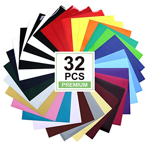 CAREGY HTV Heat Transfer Vinyl Bundle: 32 Pack Assorted Colors 12x10 Sheets, Iron On Vinyl for T-Shirt