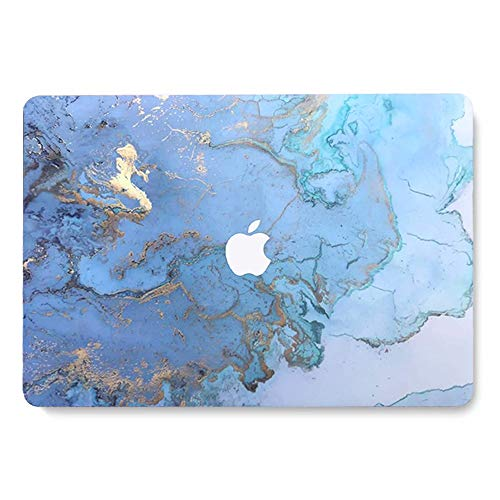 MacBook Pro 13 Case 2018 2017 2016 Release A1989/A1706/A1708, AQYLQ Matte Plastic Hard Protective Case Compatible Mac Pro 13 Inch - Colored blue marble LDL41
