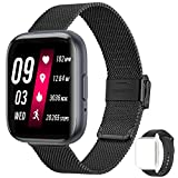 feifuns Smart Watch(Receive/Make Call) 1.54'' Full Touch Screen Fitness Tracker with Water-Resistant Heart Rate/Blood Pressure/SpO2 Pedometer Sleep Track for Women Men Android iOS Phone (Steel-Black)