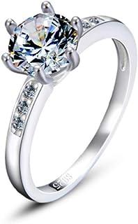 lem Abrillantador de anillosSolitario clásico de Acero Inoxidable Anillo de Compromiso de Plata de Ley 925 Regalo Ideal pa...