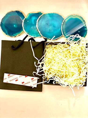 4 posavasos de ágata azul – borde chapado en oro de 24 quilates, 4 unidades, con bolsa de regalo negra y caja
