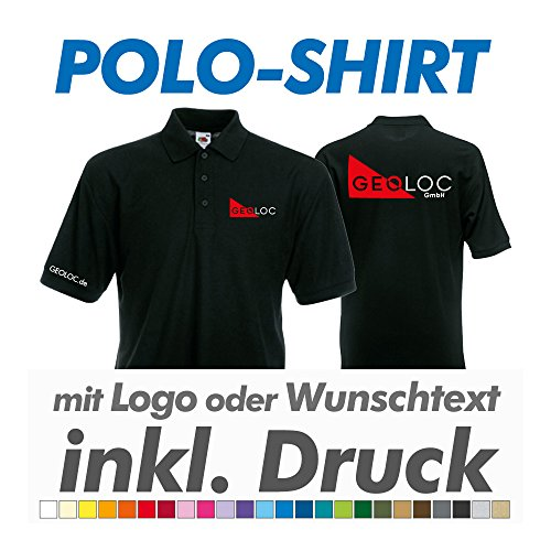 hanse graphics Polo Shirt, schwarz, Fruit of The Loom, inkl. Ihrem Wunschtext/Logo Druck Werbedruck