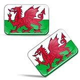 Biomar Labs® 2 x Aufkleber 3D Gel Silikon Stickers Wales Drachen Flag Flagge Fahne Auto Motorrad Fahrrad Fenster Tür PC Handy Tablet Laptop F 94