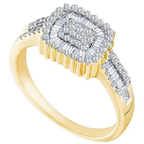 0,52quilates (de quilate) 10K oro amarillo redondo y Baguette blanco diamante moda anillo de cóctel mano derecha 1/2CT