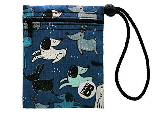 Plan B, Bolsa Porta Mascarilla, Perretes 1, 12 X 14 cm, 1 Cremallera, Asa Ajustable, Azul con Dibujos de Perros