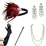 ArtiDeco 1920s Flapper Accesorios de los Años 20 Accessorios de Charlestón para Mujer Disfraz Gran Gatsby( Diadema, Collar de Perlas, Pendientes, Boquilla y Guantes)