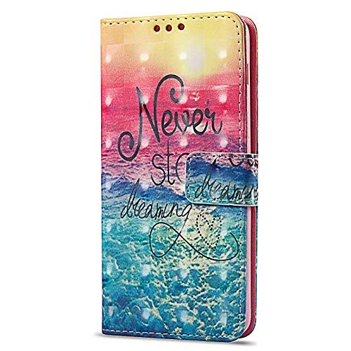 kompatibel mit Xiaomi Redmi 4A Hülle,3D Gemalt Muster Kristall Glitzer PU Leder hülle Flip Hülle Brieftasche Etui Wallet Tasche Schutzhülle für Xiaomi Redmi 4A,Never Stop Dreaming