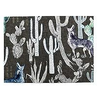 500ピース ジグソーパズル オオカミとサボテン パズル 木製パズル 動物 風景 絵 ピクチュアパズル Puzzle 52.2x38.5cm