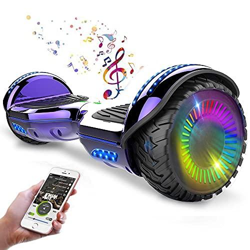 """Magic Way Hoverboard - 6.5"""" - Bluetooth - Motor 700 W - Velocidad 15 km/h - LED - Patinete Eléctrico Auto-Equilibrio - para niños y Adultos (Púrpura Cromo)"""