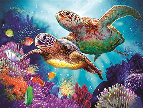 Hrank 5D DIY Diamond Painting Kits for Adults,Paint with Diamonds Full Drill Rhinestone Cross Stitch Arts Craft for Home Wall Decor 30x40cm/11.8×15.7Inches(Sea Turtle)…