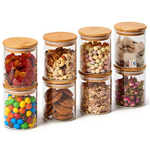 EZOWare 8 Piece Glass Jars Air Tight Canister Kitchen Food Storage Container Set with Natural Bamboo Lids for Candy, Cookie, Rice, Sugar, Flour, Pasta, Nuts - 15.2 oz