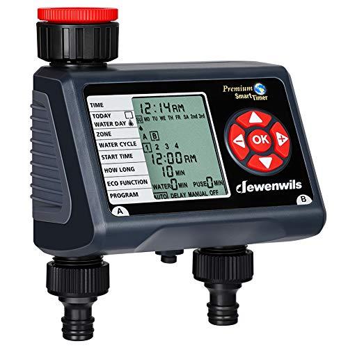 DEWENWILS – Ordenador de riego con 2 salidas independientes, reloj de riego para jardín con sensor de lluvia, programable, 4 riego por salida por día, impermeable, certificado CE